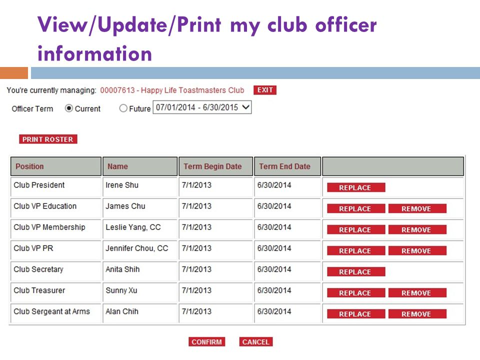 View/Update/Print my club officer information