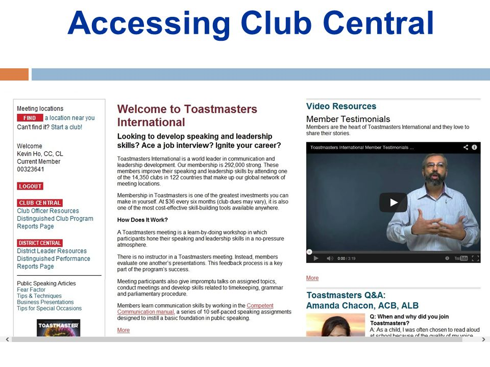 Accessing Club Central