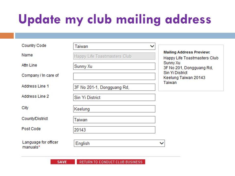 Update my club mailing address