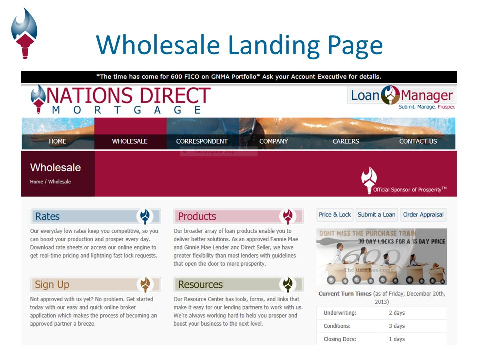 Wholesale Landing Page