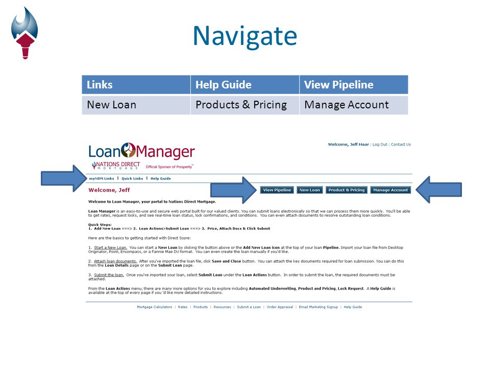 Loan Manager Information When importing a new loan: Loan Officer means Nations Direct Account Executive Loan Processor means Nations Direct Account Manager If there is a 2 nd borrower on the loan, their information can be input by clicking Borrower Pair The Loan Submission form is required and must be uploaded in the Conditions & Documents section when submitting the loan Loan Status: New Loan – create loan & loan # established Started – Loan has been submitted to underwriting Save – click save anytime prompted DU File will not override any information that was input manually.