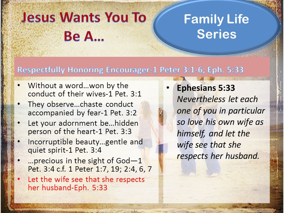 Family Life Series Without a word…won by the conduct of their wives-1 Pet. 3:1 They observe…chaste conduct accompanied by fear-1 Pet. 3:2 Let your ado