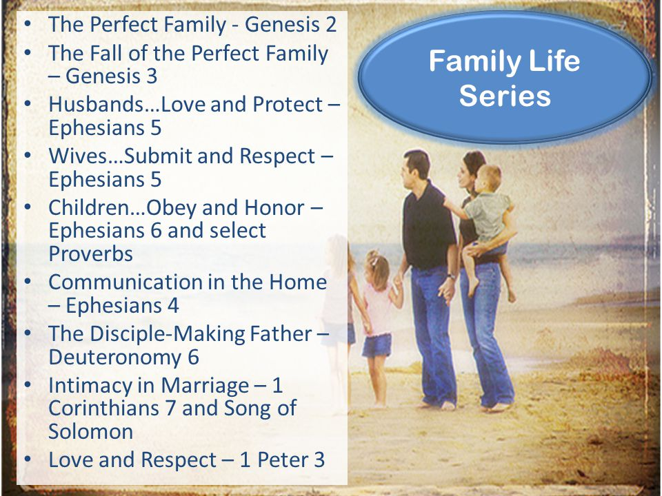 The Perfect Family - Genesis 2 The Fall of the Perfect Family – Genesis 3 Husbands…Love and Protect – Ephesians 5 Wives…Submit and Respect – Ephesians