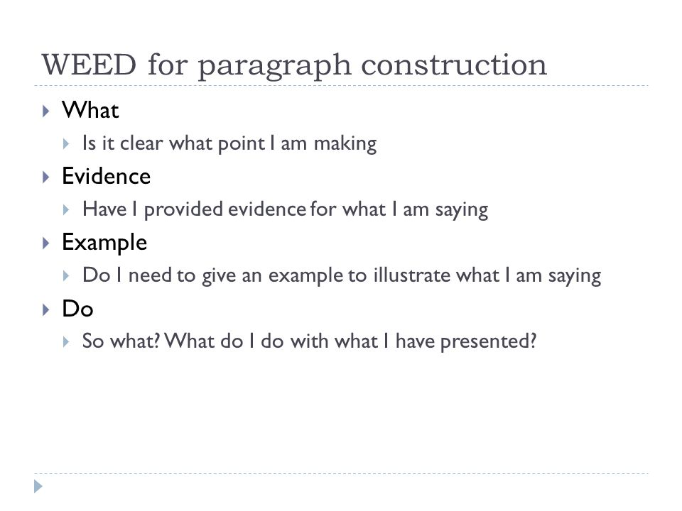 WEED for paragraph construction  What  Is it clear what point I am making  Evidence  Have I provided evidence for what I am saying  Example  Do I need to give an example to illustrate what I am saying  Do  So what.