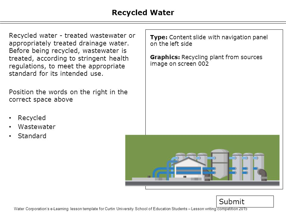 Water Corporation's e-Learning lesson template for Curtin University School of Education Students – Lesson writing competition 2015 Recycled Water Recycled water - treated wastewater or appropriately treated drainage water.