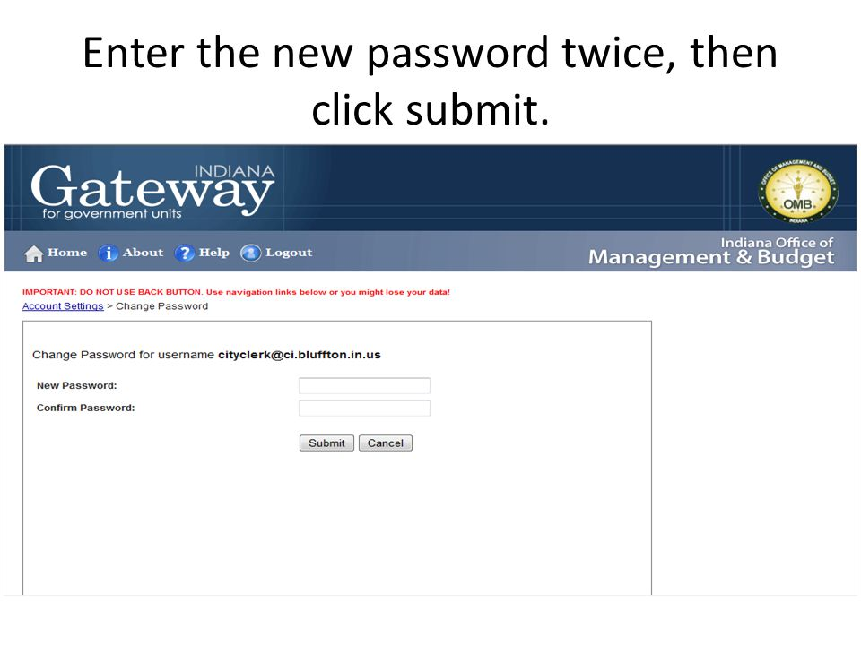 Enter the new password twice, then click submit.