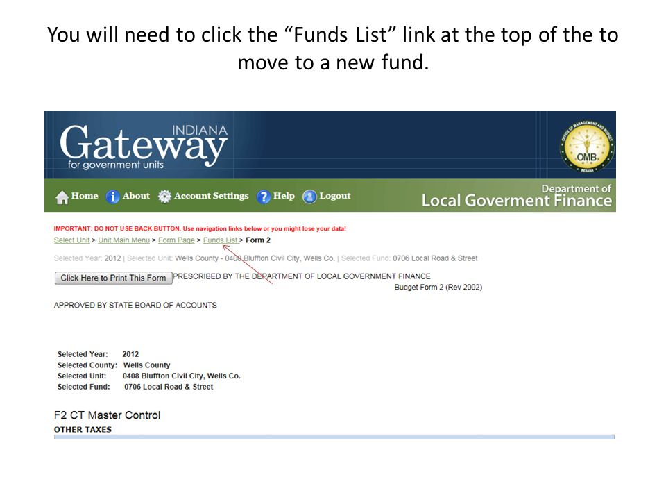 You will need to click the Funds List link at the top of the to move to a new fund.