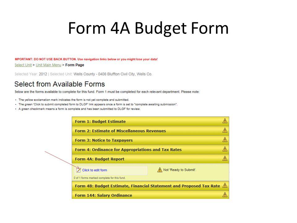 Form 4A Budget Form