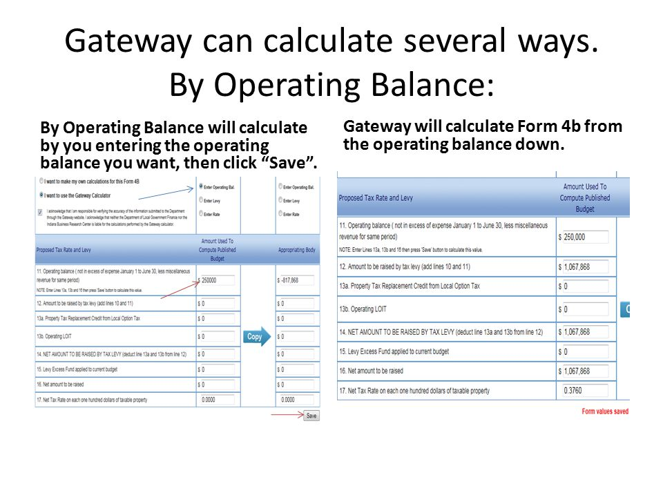 Gateway can calculate several ways.