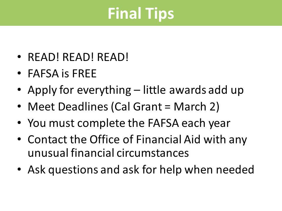 Final Tips READ. READ. READ.