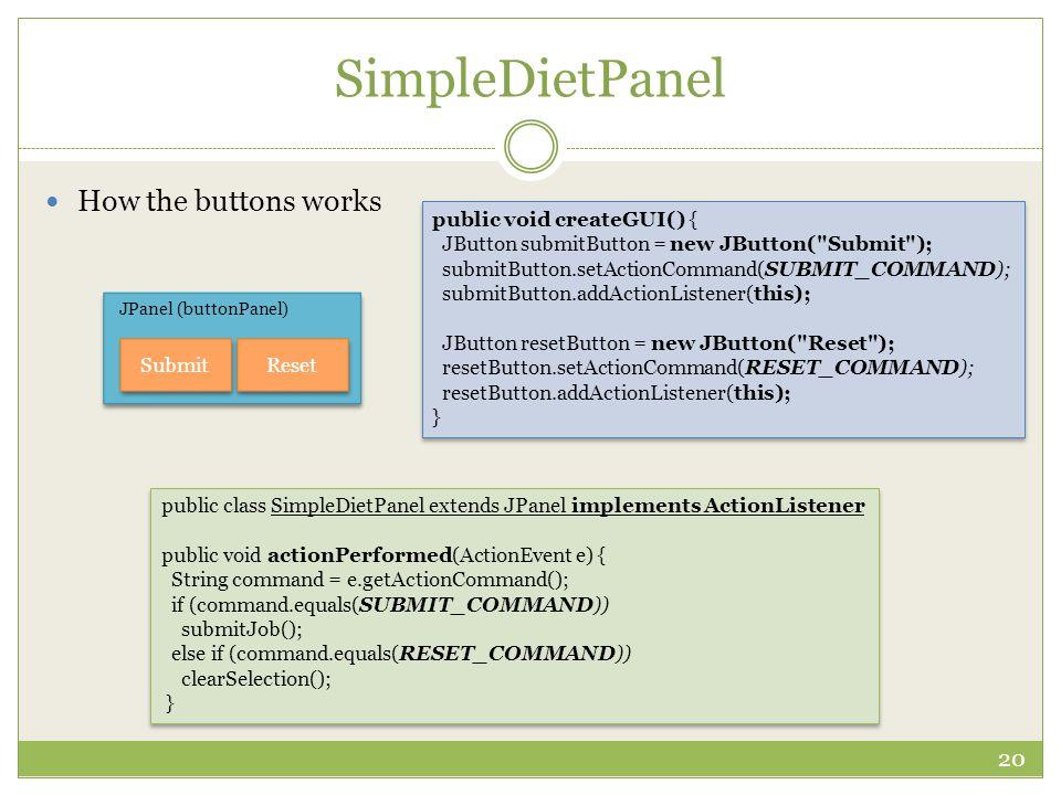 SimpleDietPanel 20 How the buttons works JPanel (buttonPanel) Submit Reset public void createGUI() { JButton submitButton = new JButton(