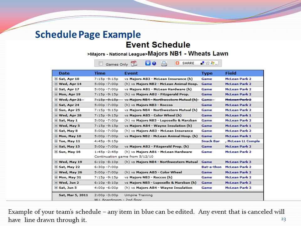 Schedule Page Example Example of your team's schedule – any item in blue can be edited.