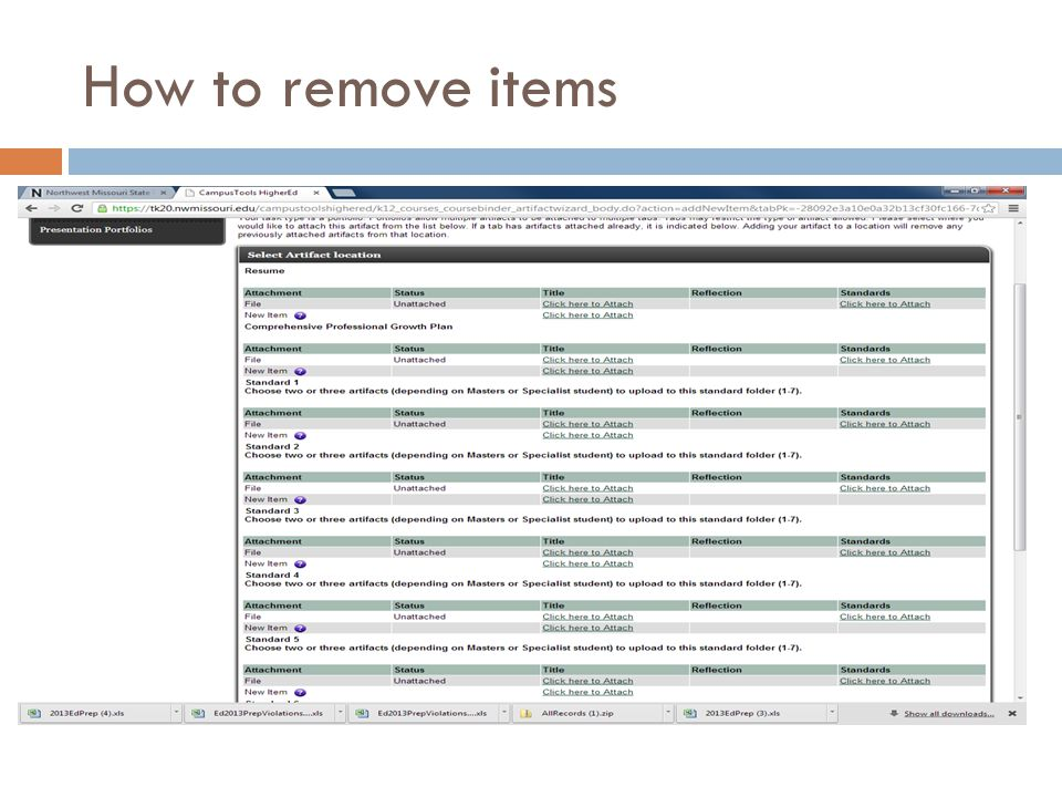 How to remove items
