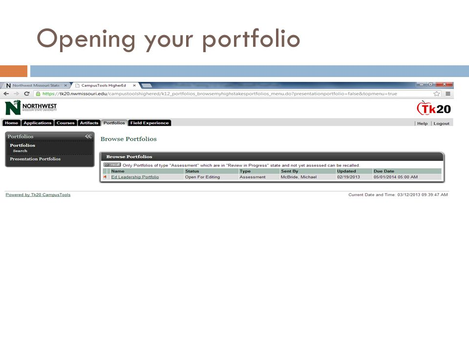 Opening your portfolio