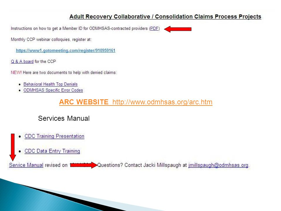 Services Manual ARC WEBSITE http://www.odmhsas.org/arc.htm