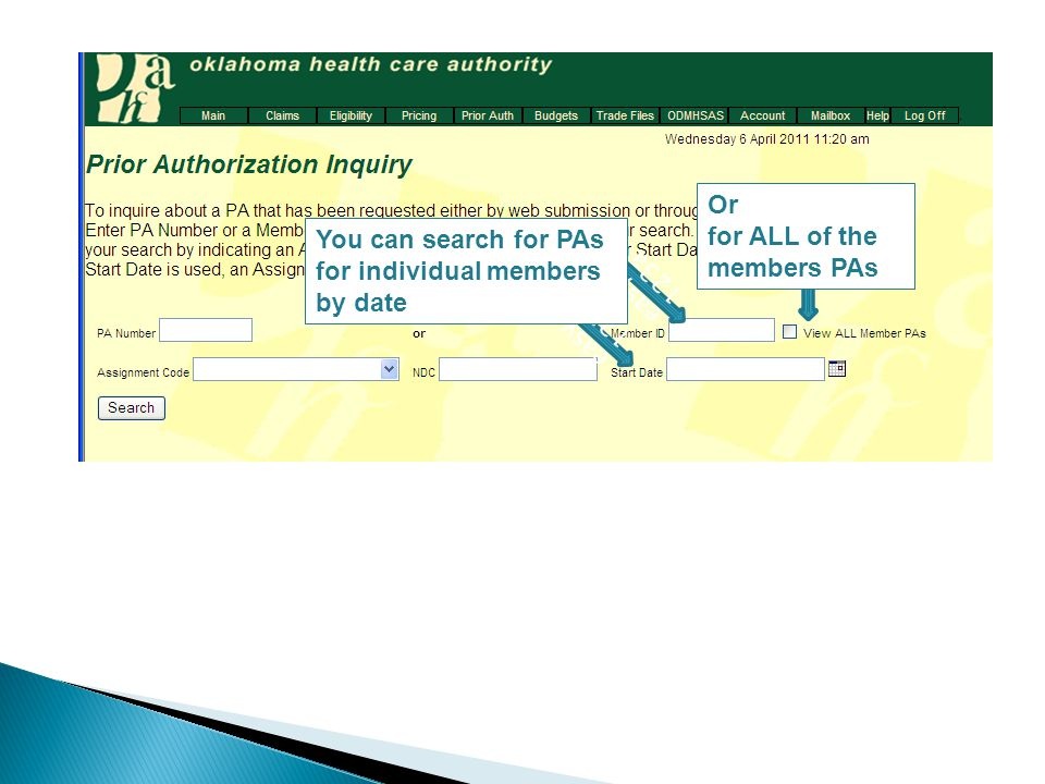 easy 123a Or for ALL of the members PAs easy 123a You can search for PAs for individual members by date