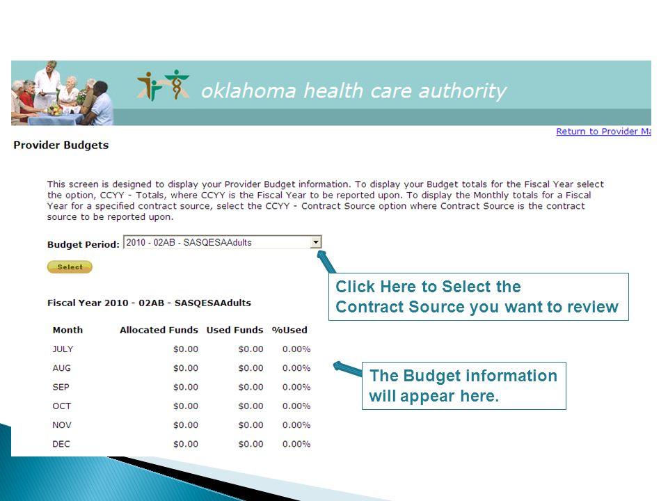 Click Here to Select the Contract Source you want to review The Budget information will appear here.