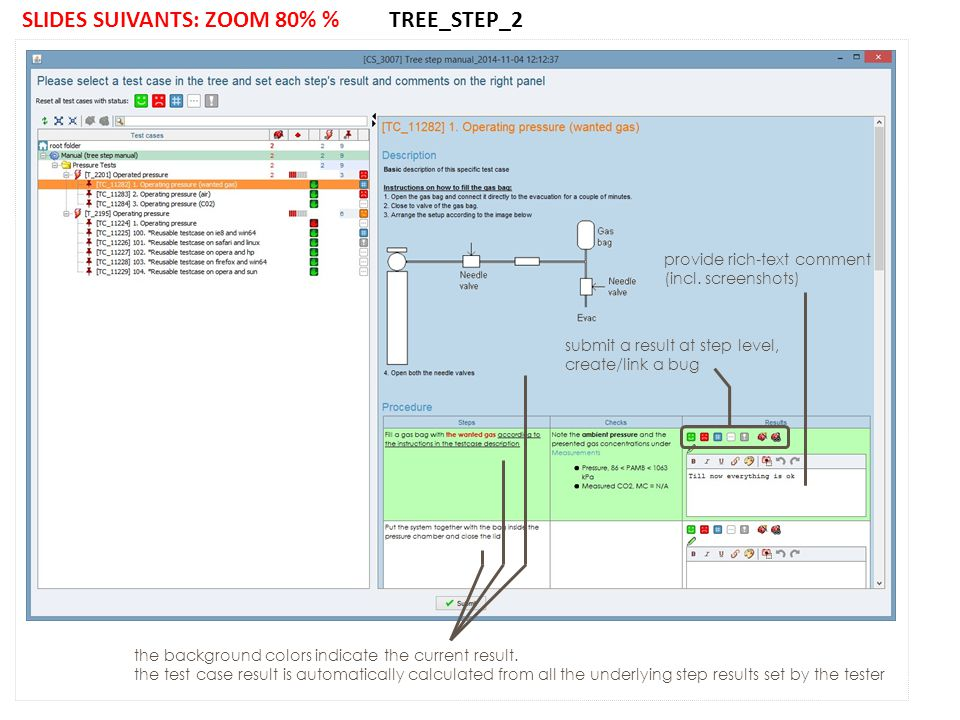 SLIDES SUIVANTS: ZOOM 80% % TREE_STEP_2 submit a result at step level, create/link a bug provide rich-text comment (incl.