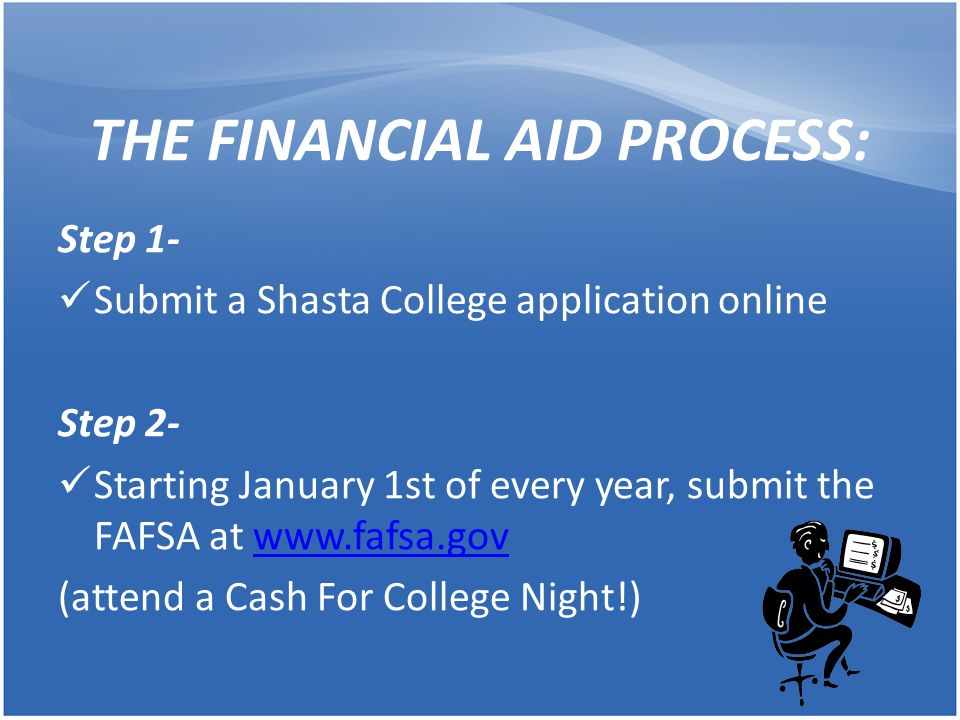 THE FINANCIAL AID PROCESS: Step 1- Submit a Shasta College application online Step 2- Starting January 1st of every year, submit the FAFSA at www.fafs