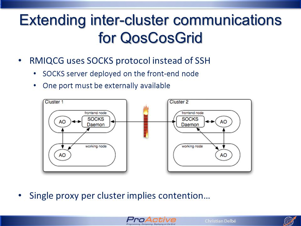 Christian Delbé Extending inter-cluster communications for QosCosGrid RMIQCG uses SOCKS protocol instead of SSH SOCKS server deployed on the front-end node One port must be externally available Single proxy per cluster implies contention…