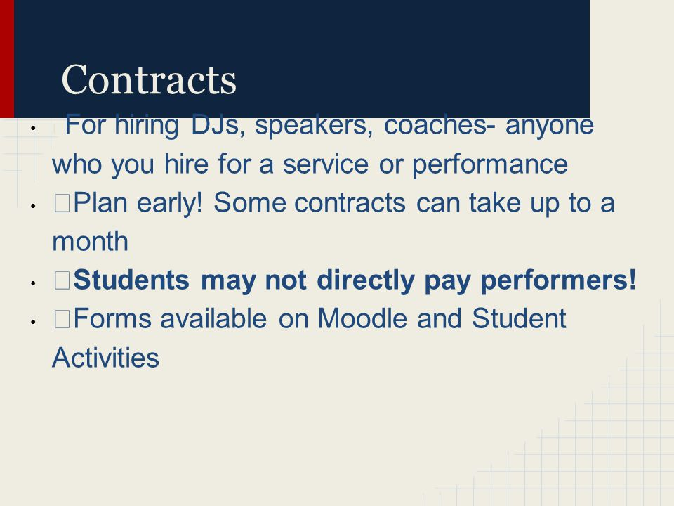 Contracts › For hiring DJs, speakers, coaches- anyone who you hire for a service or performance ›Plan early.