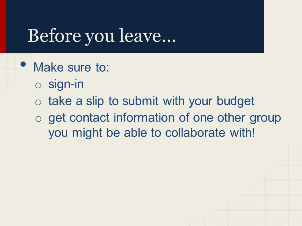 Before you leave...