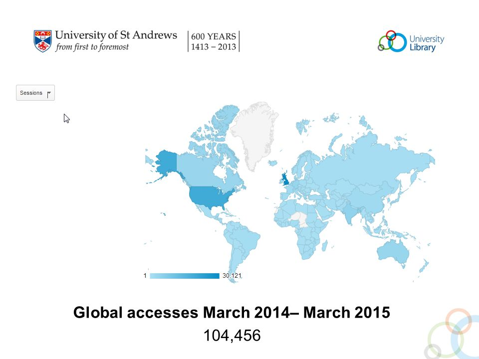 Global accesses March 2014– March 2015 104,456