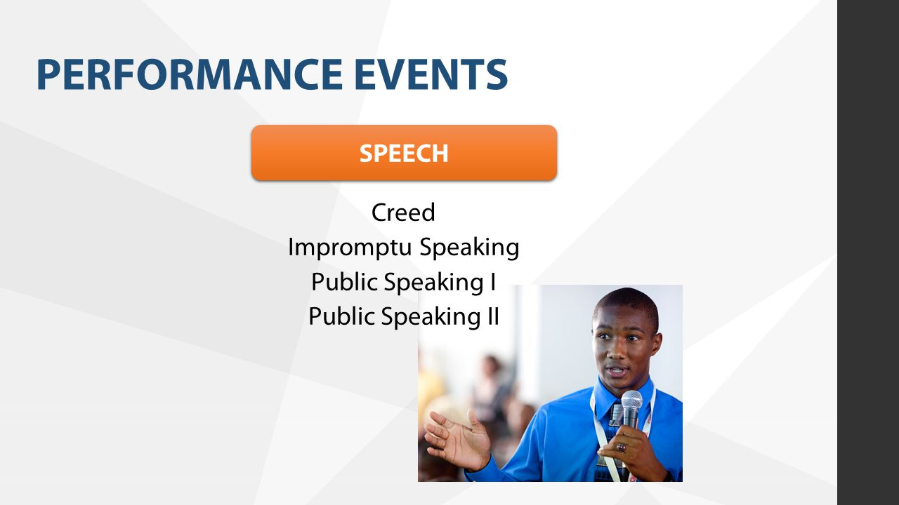 PERFORMANCE EVENTS SPEECH Creed Impromptu Speaking Public Speaking I Public Speaking II