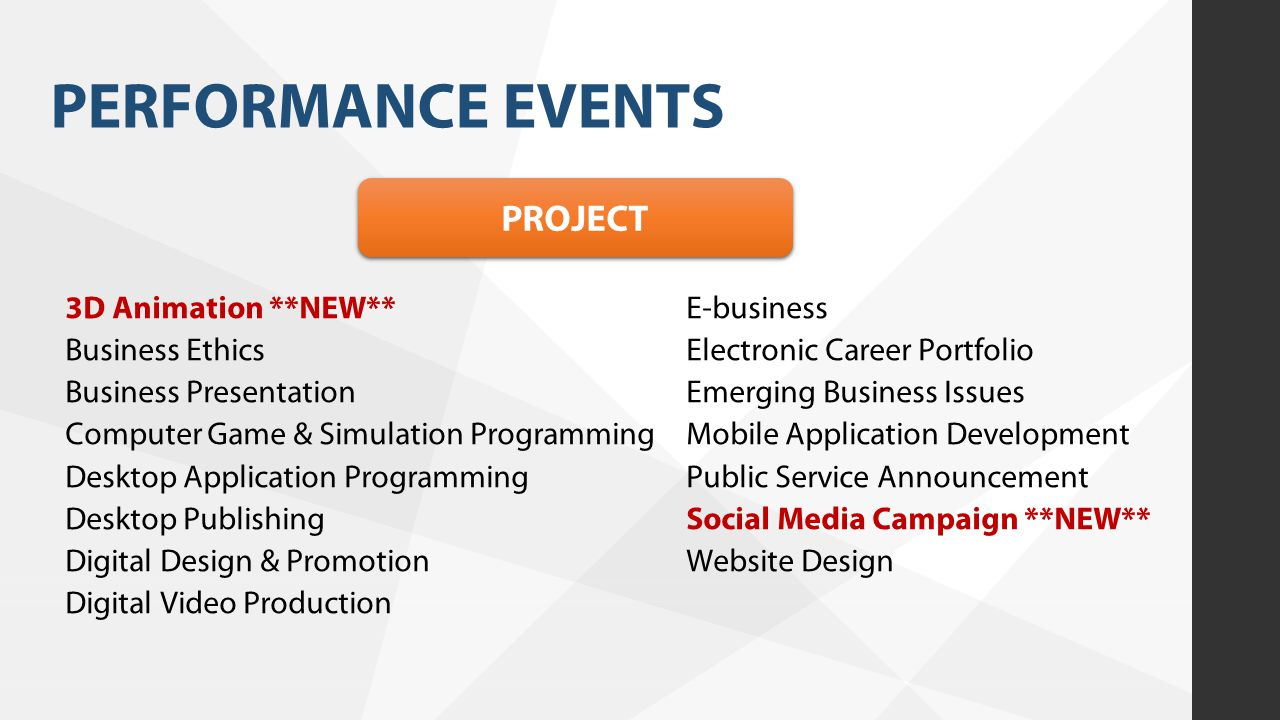 PERFORMANCE EVENTS PROJECT 3D Animation **NEW** Business Ethics Business Presentation Computer Game & Simulation Programming Desktop Application Progr