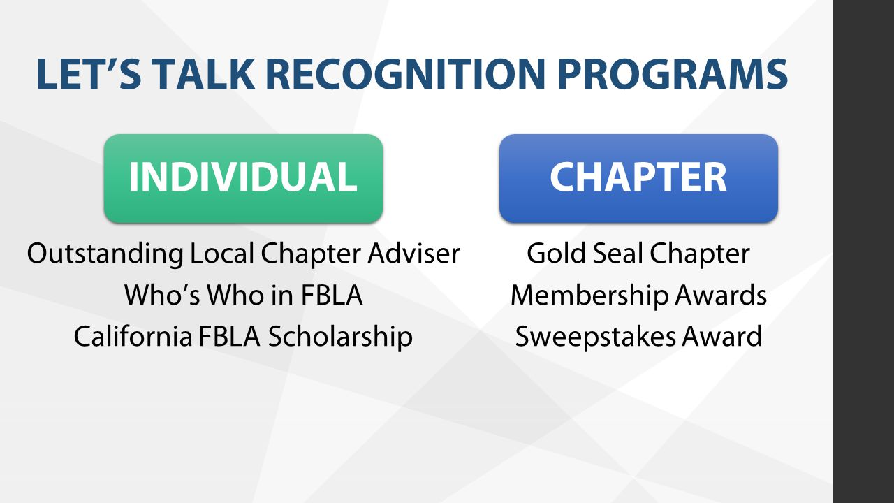 LET'S TALK RECOGNITION PROGRAMS INDIVIDUAL Outstanding Local Chapter Adviser Who's Who in FBLA California FBLA Scholarship Gold Seal Chapter Membershi