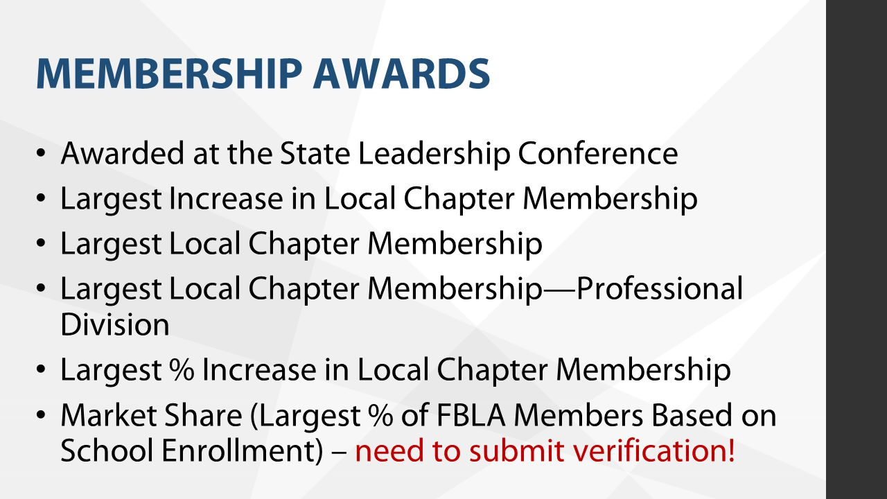 MEMBERSHIP AWARDS Awarded at the State Leadership Conference Largest Increase in Local Chapter Membership Largest Local Chapter Membership Largest Loc
