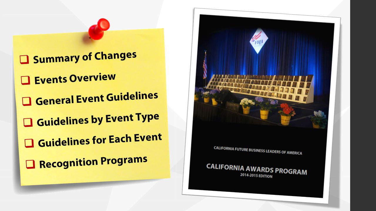  Summary of Changes  Events Overview  General Event Guidelines  Guidelines by Event Type  Guidelines for Each Event  Recognition Programs