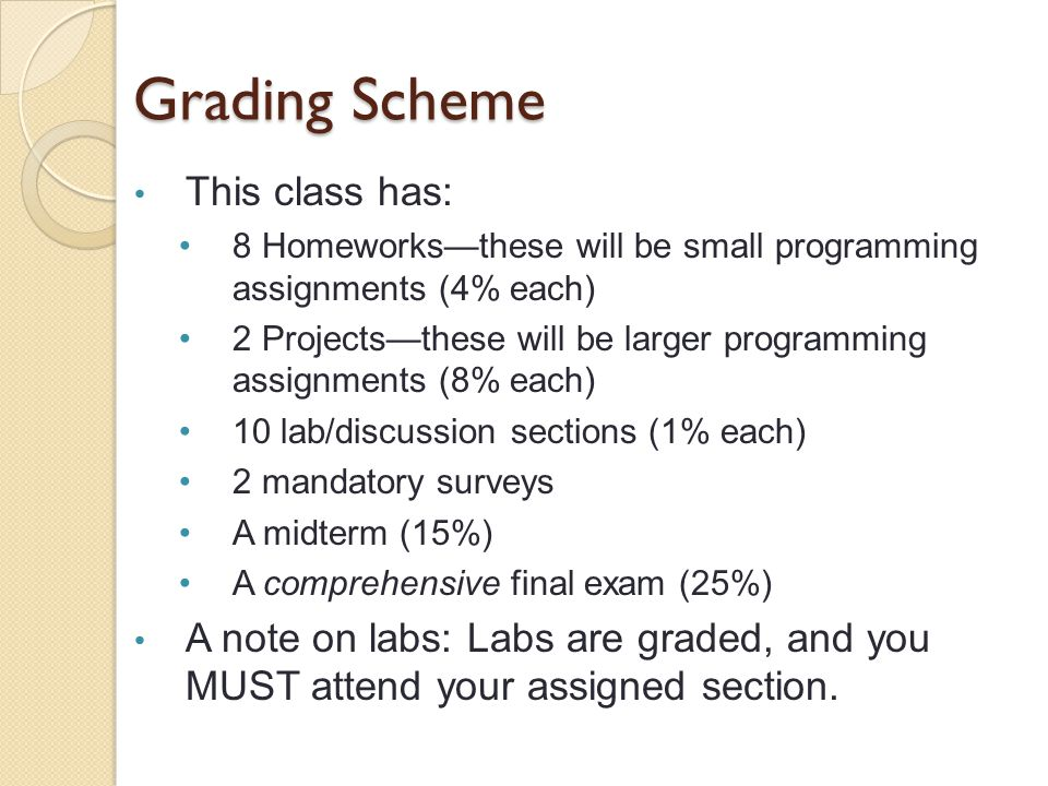 Grading Scheme This class has: 8 Homeworks—these will be small programming assignments (4% each) 2 Projects—these will be larger programming assignments (8% each) 10 lab/discussion sections (1% each) 2 mandatory surveys A midterm (15%) A comprehensive final exam (25%) A note on labs: Labs are graded, and you MUST attend your assigned section.