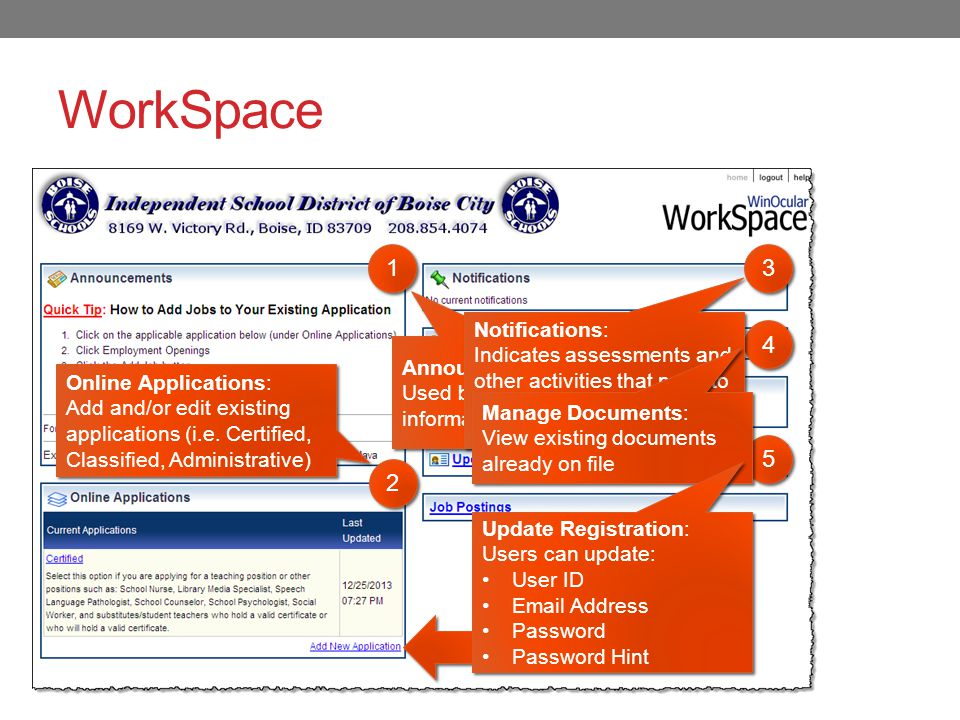 WorkSpace 1 1 2 2 3 3 4 4 5 5 Announcments: Used by HR to provide information.