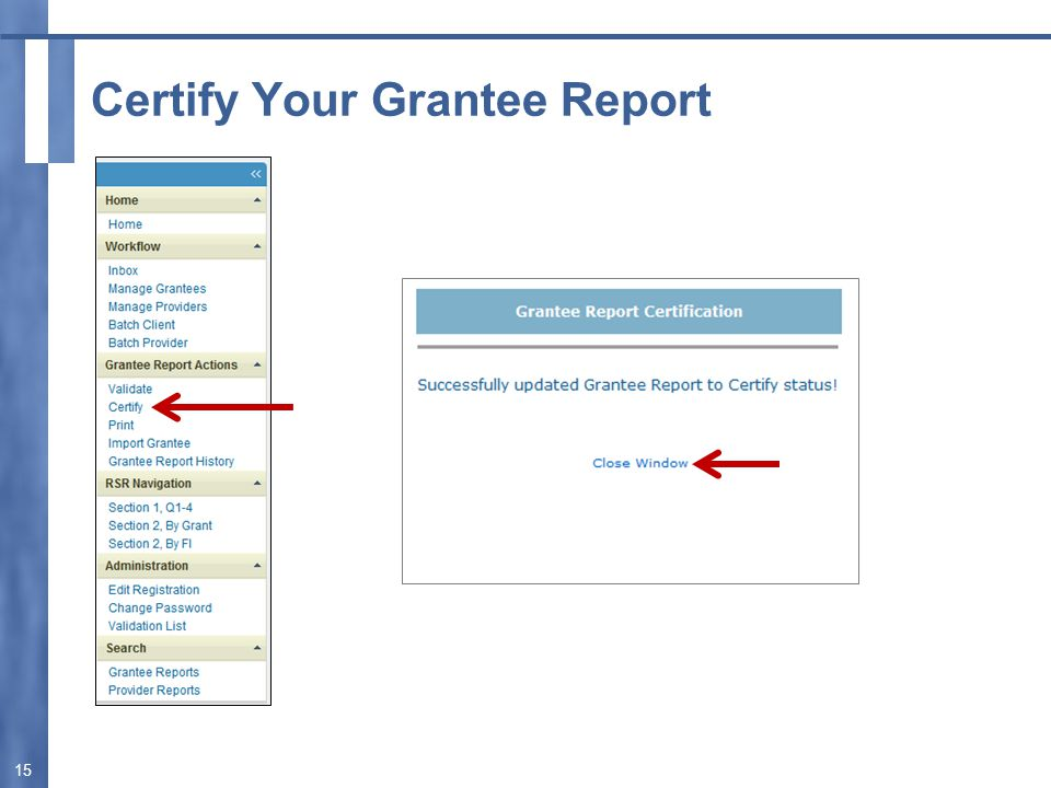 Certify Your Grantee Report 15