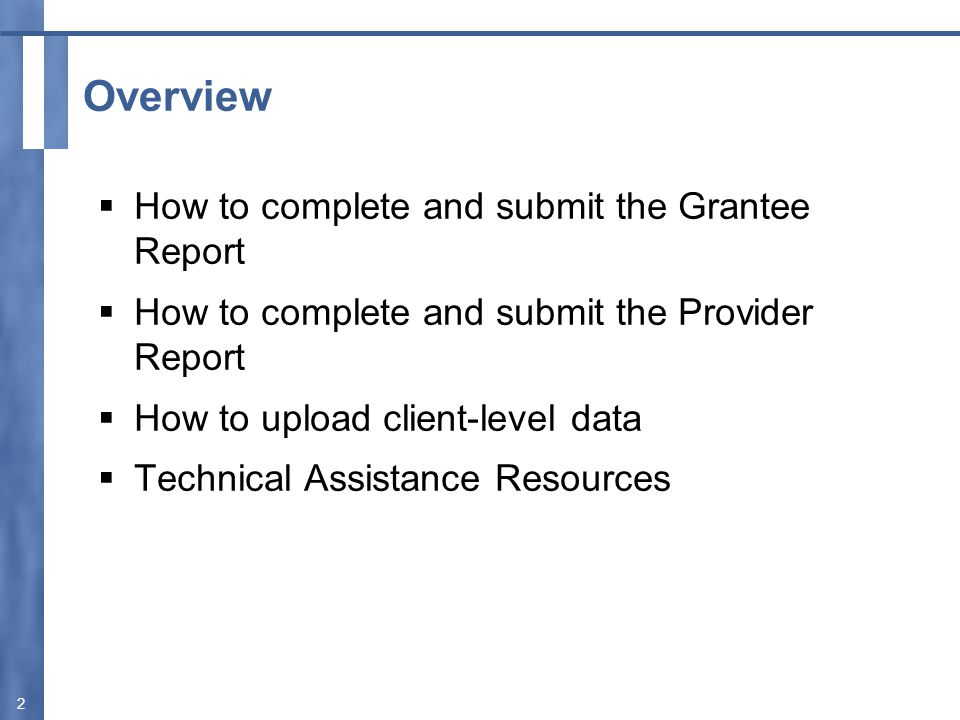 Completing the Grantee Report 3