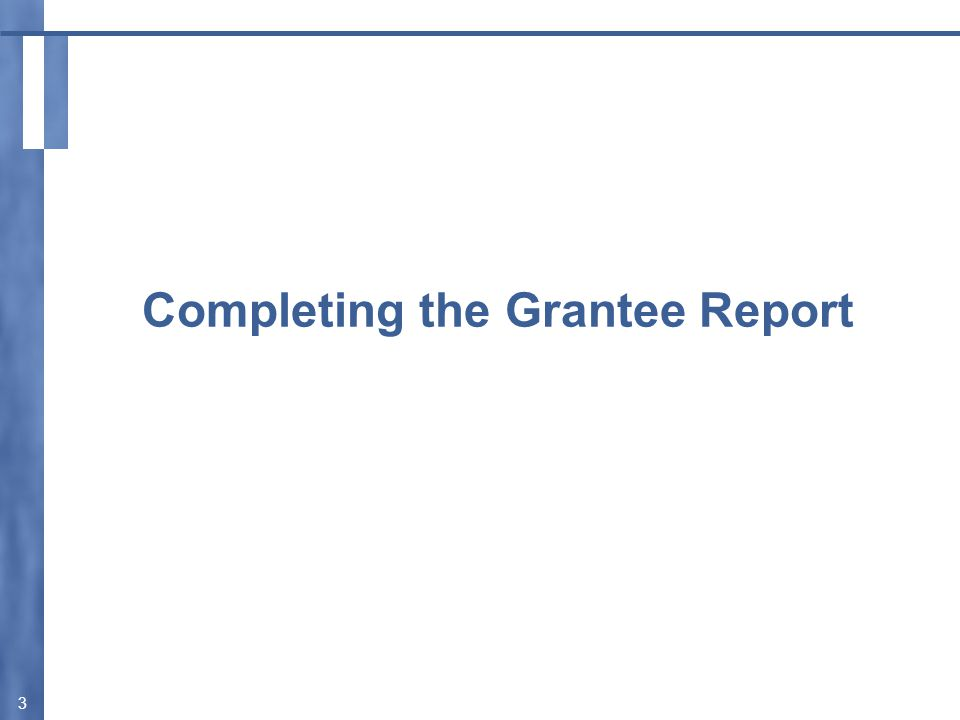 Accessing the Grantee Report  ALL grantees access their Grantee Report(s) through the Electronic Handbooks (EHBs): https://grants.hrsa.gov/webexternal  Enter your Username and Password.
