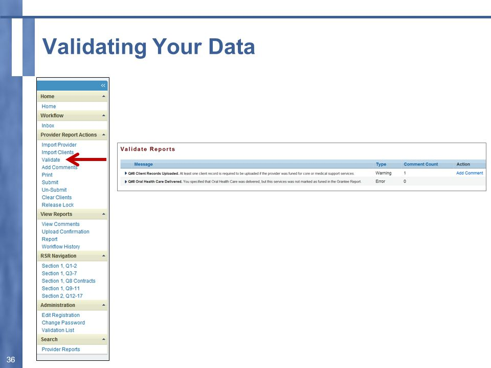 Validating Your Data 36