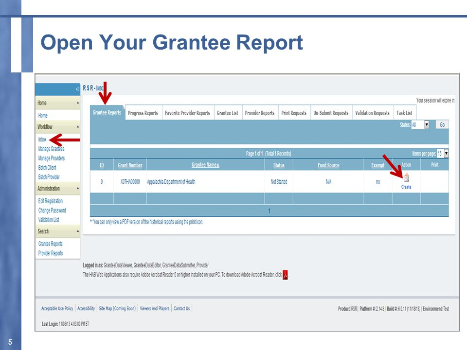 Open Your Grantee Report 5