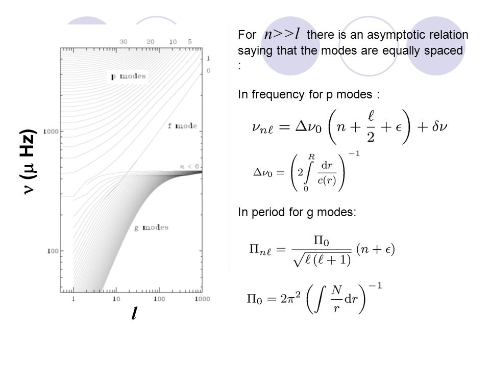 l  (  Hz) For n>>l there is an asymptotic relation saying that the modes are equally spaced : In frequency for p modes : In period for g modes: