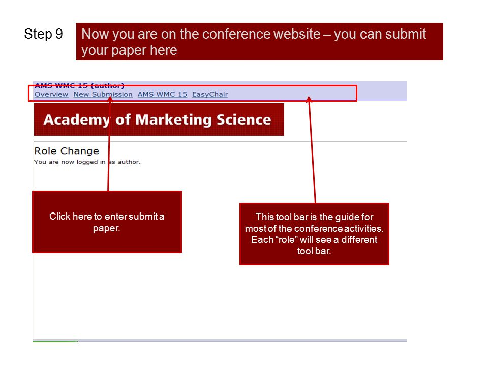 """Step 9Now you are on the conference website – you can submit your paper here This tool bar is the guide for most of the conference activities. Each """"r"""