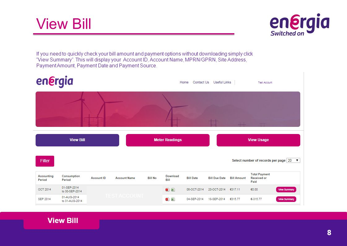 If you need to quickly check your bill amount and payment options without downloading simply click View Summary .