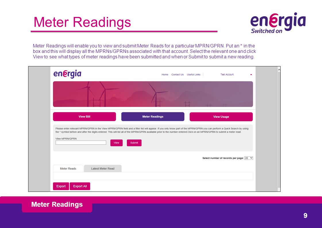 Meter Readings Meter Readings will enable you to view and submit Meter Reads for a particular MPRN/GPRN.