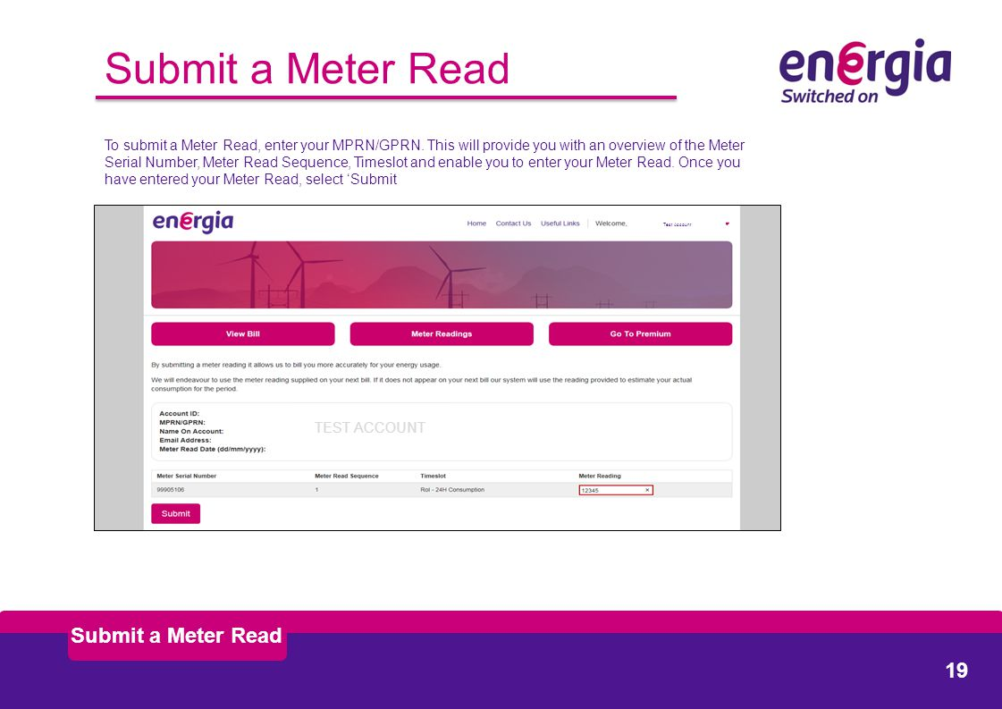 Submit a Meter Read To submit a Meter Read, enter your MPRN/GPRN.