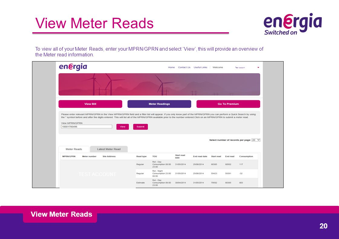 View Meter Reads To view all of your Meter Reads, enter your MPRN/GPRN and select 'View', this will provide an overview of the Meter read information.
