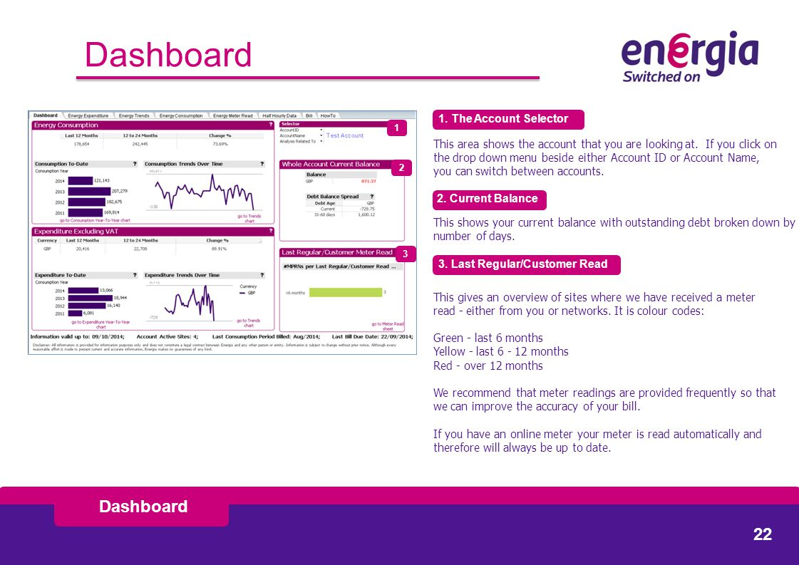 Dashboard 1. The Account Selector This area shows the account that you are looking at.