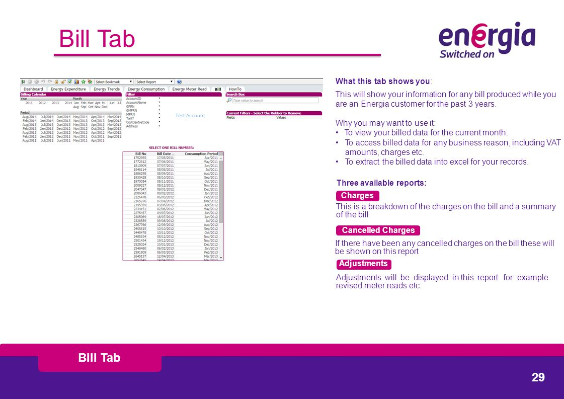Bill Tab What this tab shows you: This will show your information for any bill produced while you are an Energia customer for the past 3 years.