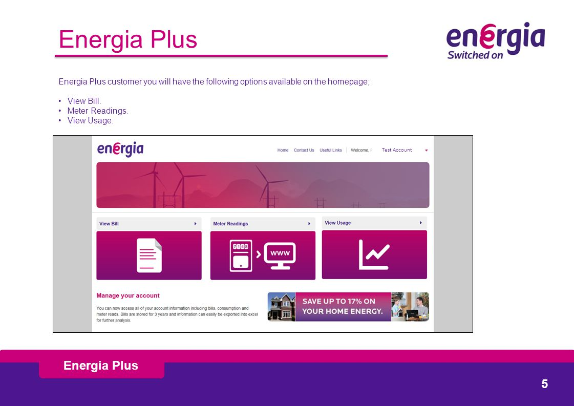Energia Plus customer you will have the following options available on the homepage; View Bill.