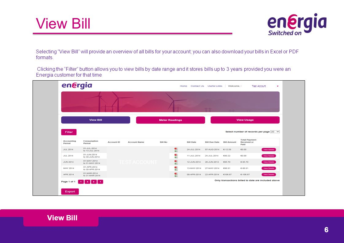 View Bill Selecting View Bill will provide an overview of all bills for your account; you can also download your bills in Excel or PDF formats.