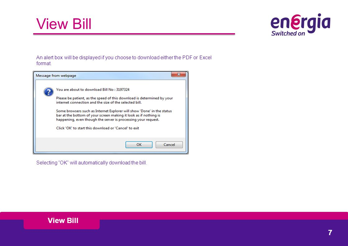 View Bill An alert box will be displayed if you choose to download either the PDF or Excel format.